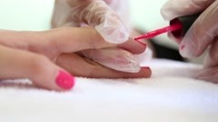 Red Nail polish in bright clinic - stock footage