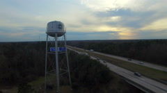 Walterboro SC Water Tower next to I95 slow descent Stock Footage