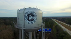 Walterboro SC Water Tower next to I95 Stock Footage