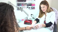 Nail polish salon - stock footage