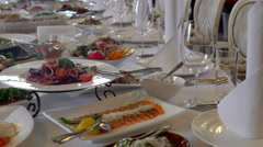 Dishes on the table in a restaurant - stock footage