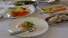 Dishes on the table in a restaurant Stock Footage