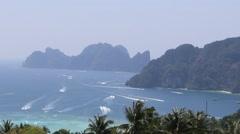 Beautiful Thai bay at Phi Phi Island. Speed boats near Phi Phi - stock footage