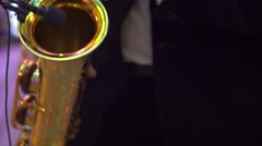 Saxophone classical music instrument Saxophonist with alto sax - stock footage
