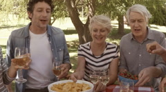 Family has a meal together Stock Footage