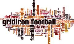 Gridiron football word cloud - stock illustration