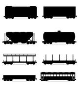 Set icons railway carriage train black outline silhouette vector illustration Stock Illustration