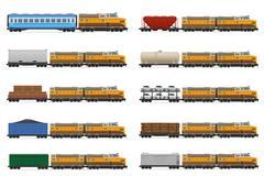 Set icons railway train with locomotive and wagons vector illustration Stock Illustration