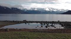 Alaska Coast Range Ocean Side Pan Stock Footage