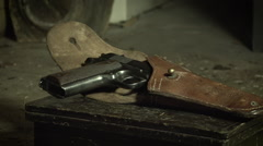 Antique Automatic Pistol and Old Empty Whisky Bottle Slider Stock Footage