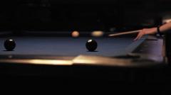 Billiard Shot on Table Stock Footage