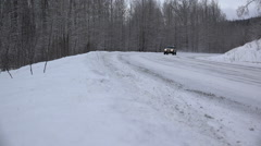 Compact Pickup Truck With Camper Shell On Winter Highway Stock Footage