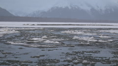 Early Winter River Freeze Up In Alaska - stock footage