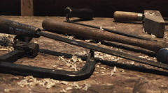 Furniture Maker and Wood Working Tools Stock Footage