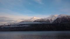 Lynn Canal Alaska Mountain Winter Time Lapse Stock Footage