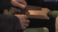 Man's Hands Preparing Lathe For Turning Stock Footage