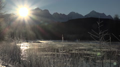 Mighty Mountain Ice River Descending Sun Star Glacier Peaks Stock Footage