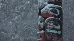 Native American Totem In Blizzard Stock Footage