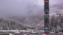 Native American Totem Snowy Time Lapse Stock Footage
