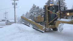 Passing Snow Plow In Winter Snow Storm Stock Footage