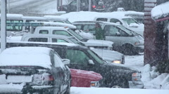 Parking Lot Blizzard Business As Usual Stock Footage
