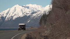 Truck Camper Adventure Vehicle Alaska Highway - stock footage