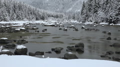 Winter Mountain River Scene Tilt Up Stock Footage