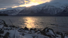 Winter Mountain Sunset Snowy Beach Pullback Stock Footage