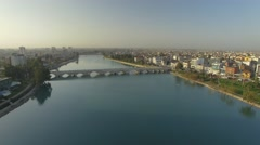 Aerial view of Adana Central Mosque and the cityscape in the morning light Stock Footage