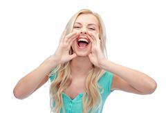 Young woman or teenage girl shouting Stock Photos