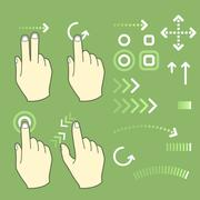 Touch screen gesture hand signs and movement - stock illustration