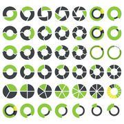 Pie charts and circular graph infographics set - stock illustration