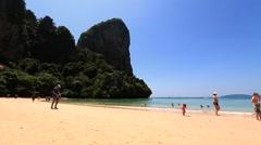 Beautiful Thai Beach. Railay Beach near Krabi. Stock Footage