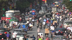 Congested road in Hanoi, busy rush hour, infrastructure, transportation, Vietnam Stock Footage