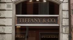 Tiffany jewellery shop sign - stock footage