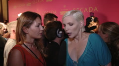 Nadja Auermann interview at Escada Fashion Show Stock Footage