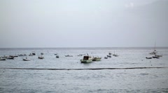 Beach with boats in Italy - stock footage