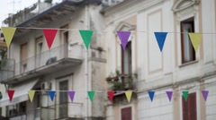 South Italy city flag garland - stock footage