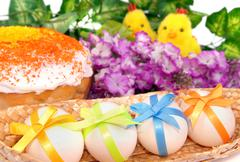 Easter cake, eggs and two chicken Stock Photos
