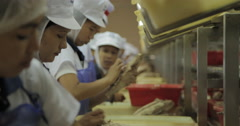 Women Workers Clean The Carcass Of Tuna (4K) Stock Footage