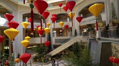 Venetian hotel lobby with colorful lanterns - Las Vegas Stock Footage