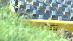 Vibratory Compressor Road Contruction Stock Footage