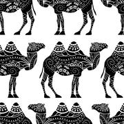 Seamless pattern with camel silhouette Stock Illustration