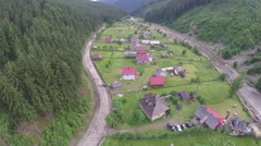 Aerial view on a village. Carpathians - stock footage
