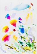 Coloured ink brush strokes on paper. Stock Illustration