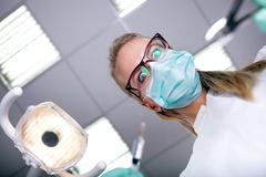 concept of fear of the dentist - stock photo