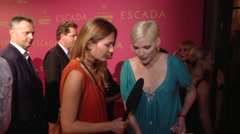 Nadja Auermann interview at Escada Fashion Show Stock Footage