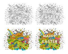 Happy Easter doodle illustrations - stock illustration