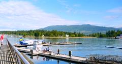 4K Stanley Park in Vancouver, Sea Plane Terminal, North Vancouver, Canada Stock Footage