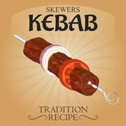 Stock Illustration of Delicious skewers kebab tradition recipe poster AD